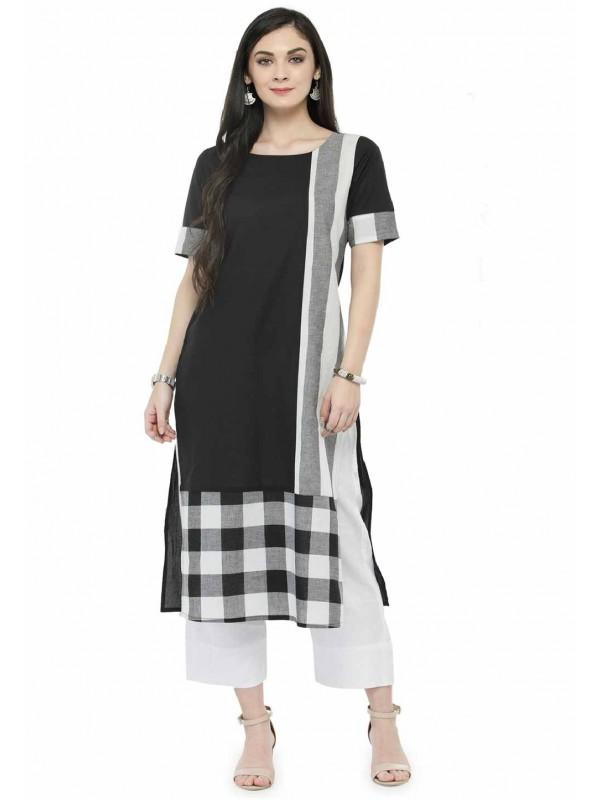 Black Colour Cotton Kurti.