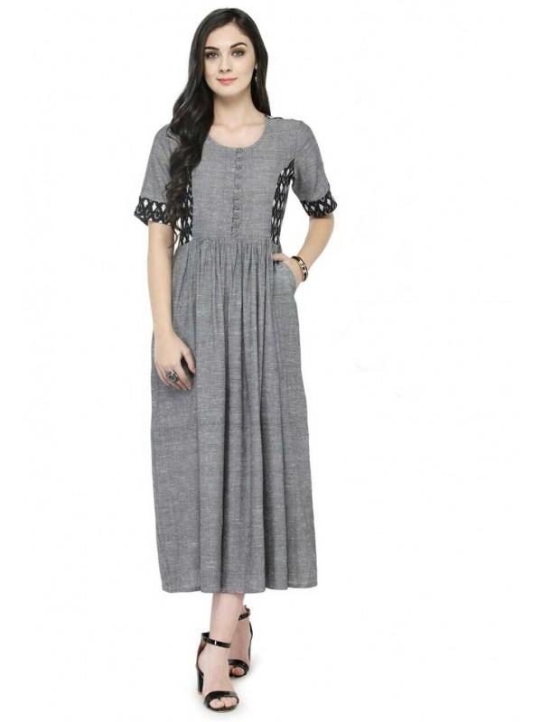 Grey Colour Cotton Kurti.
