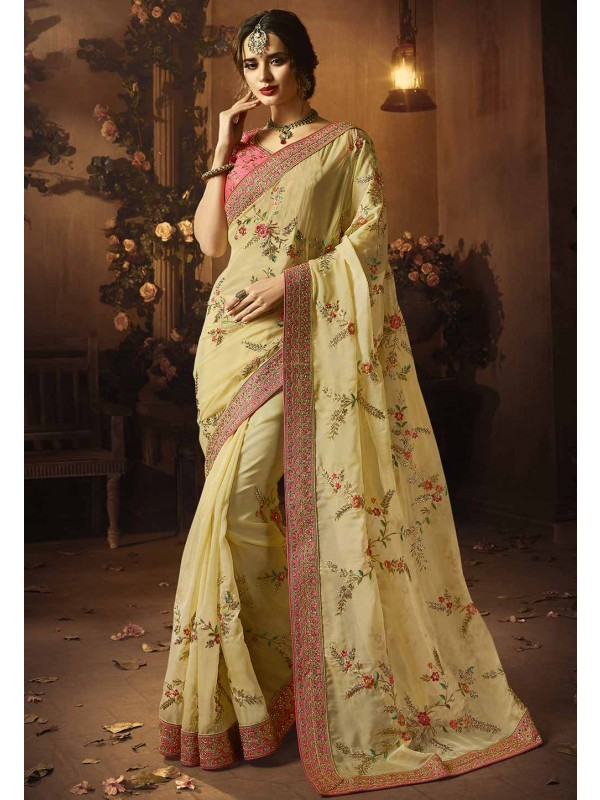 Cream Colour Indian Wedding Saree.