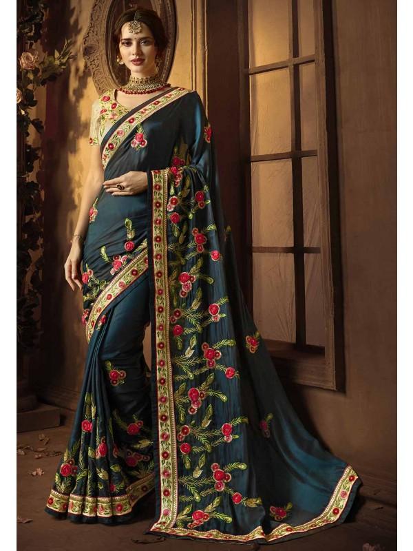Green Colour Embroidery Saree.