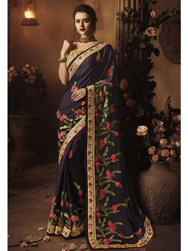 Purple Colour Indian Designer Sari.
