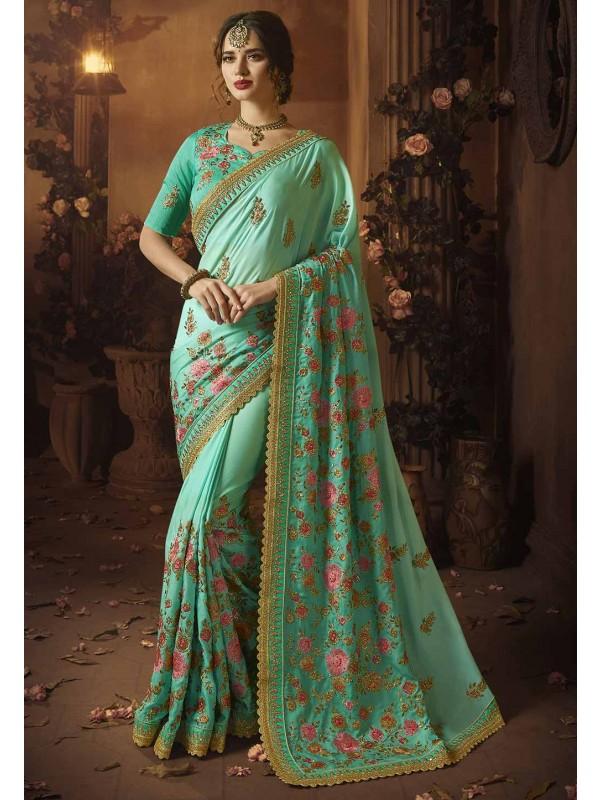 Green Colour Silk Sari.
