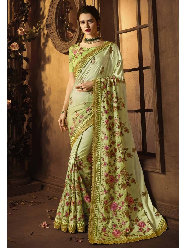 Green Colour Indian Wedding Sari.
