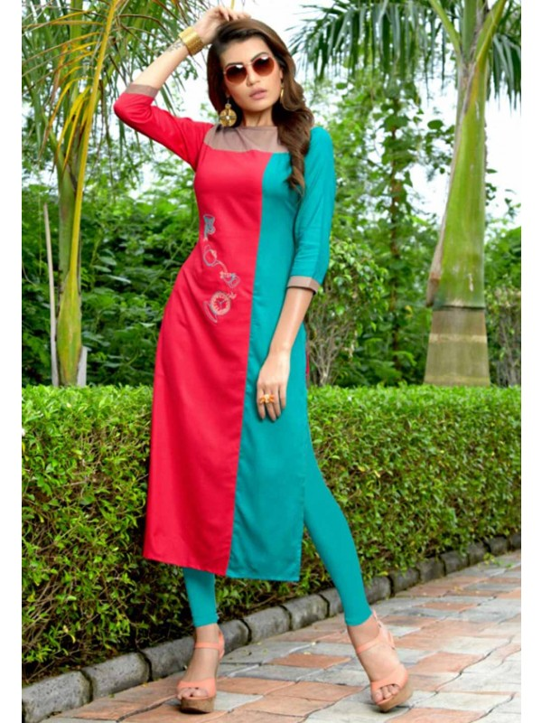 Pink,Turquoise Colour Casual Kurti.