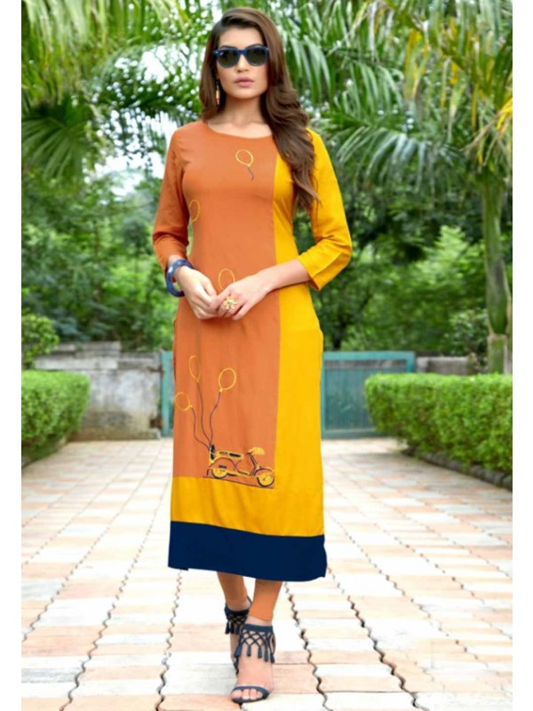 Orange,Yellow Colour Kurti.