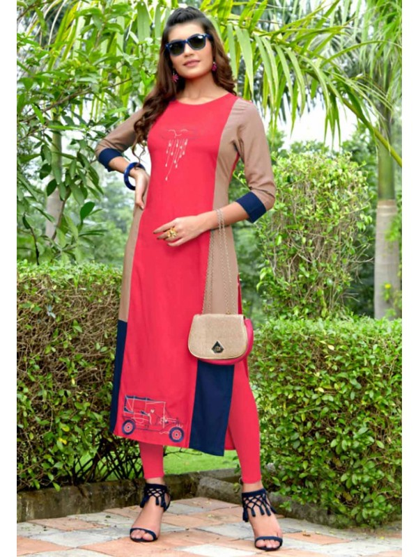 Pink Colour Embroidery Kurti.