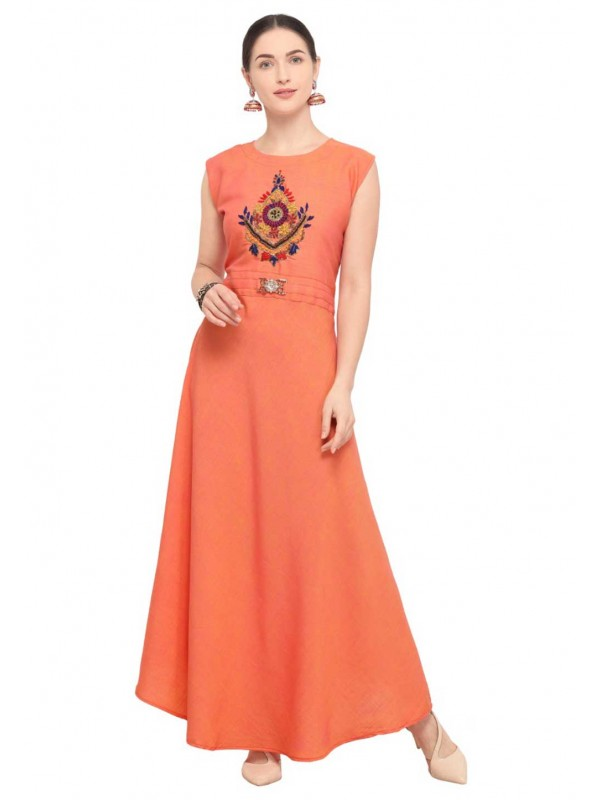Orange Colour Designer Kurti.