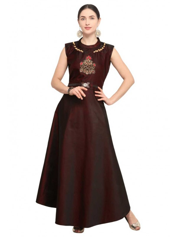 Wine Colour Party Wear Kurti.