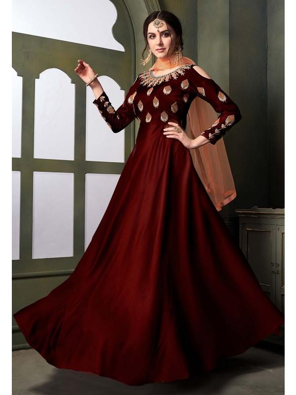 Maroon Colour Designer Gown.