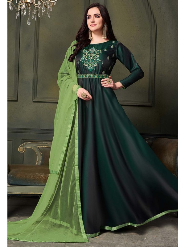 Green Colour Readymade Gown.