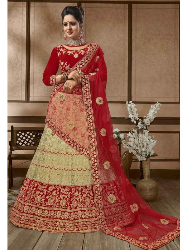 Beige,Red Colour Silk Lehenga Choli.
