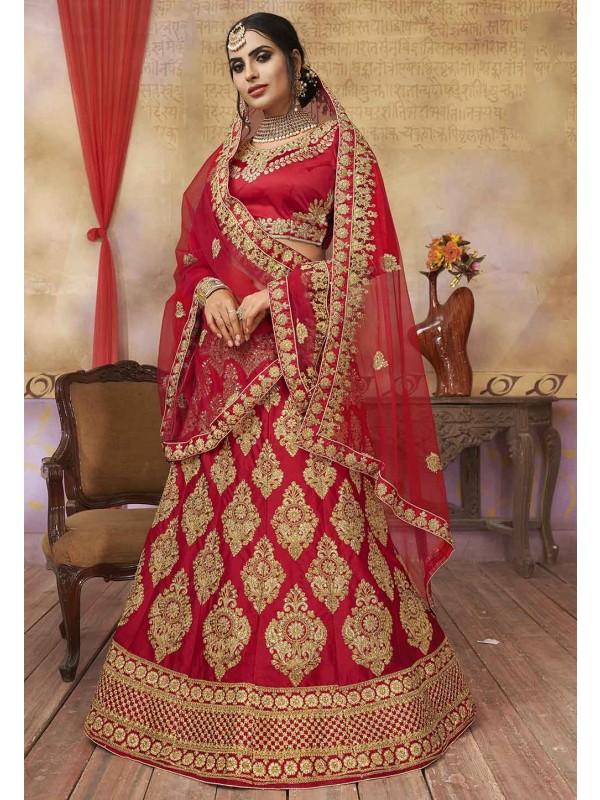 Red Colour Bridal Lehenga Choli.