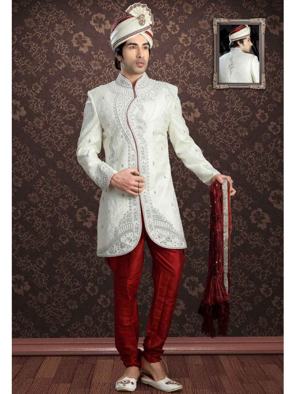 Off White Colour Readymade Sherwani.