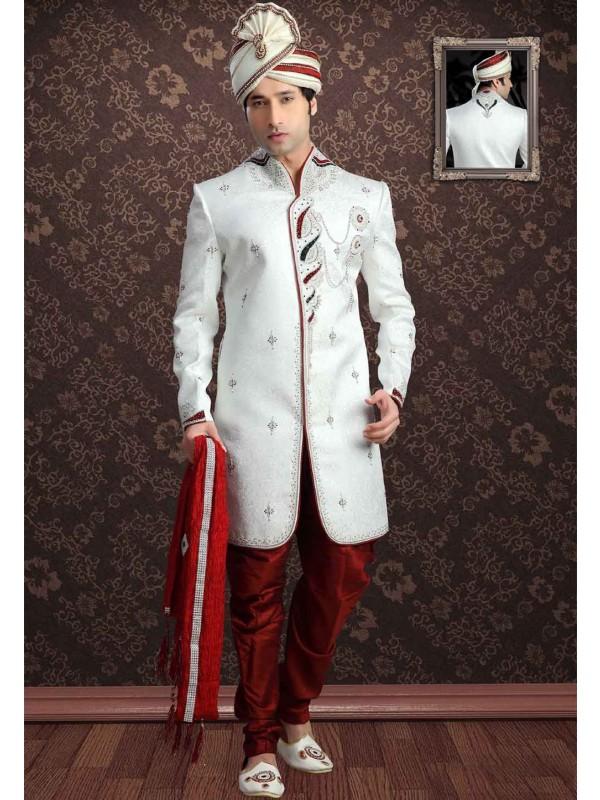White Colour Jacquard Sherwani.