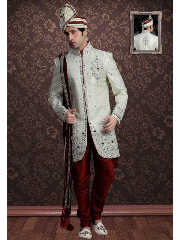 Cream Colour Indian Designer Sherwani.
