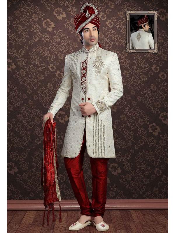 Cream Colour Sherwani.