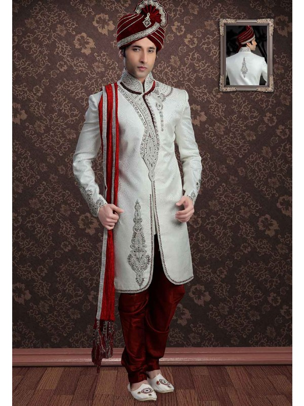 Off White Colour Jacquard Sherwani.