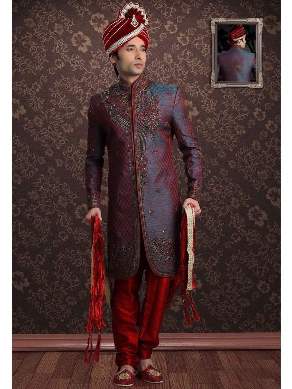 Blue,Red Colour Designer Sherwani.