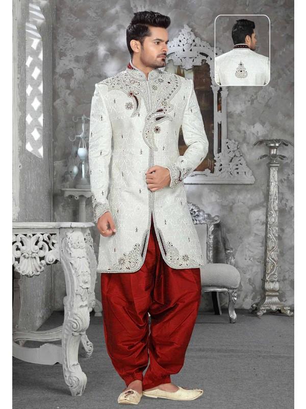Off White Colour Sherwani.