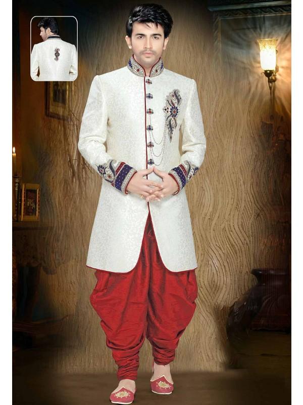 Off White Colour Designer Indowestern.