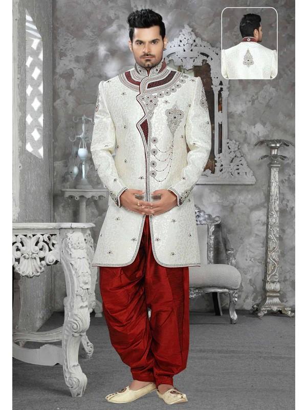 Off White Colour Brocade Sherwani.
