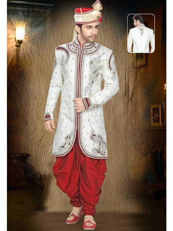 Off White Colour Men's Sherwani.