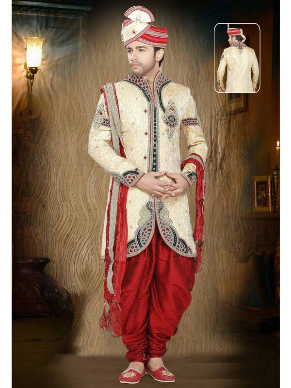 Golden Colour Wedding Sherwani.
