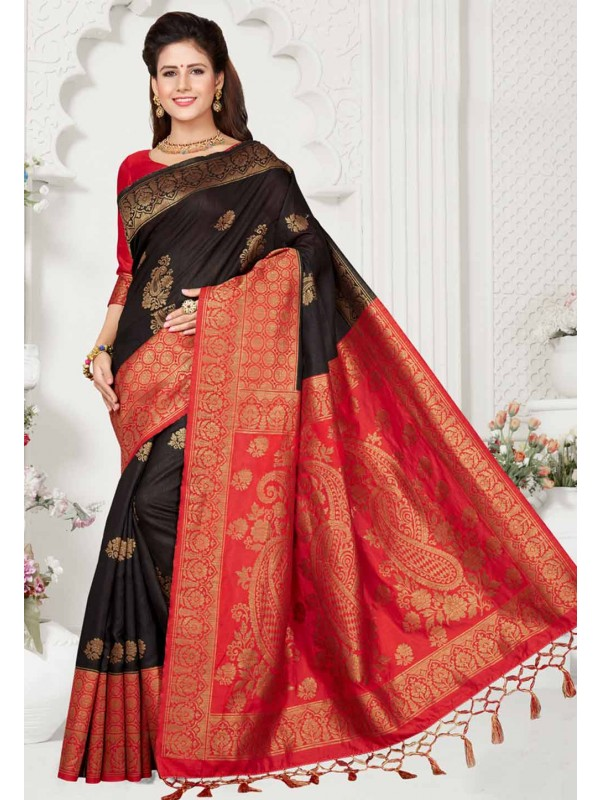 Black,Red Colour Party Wear Saree.