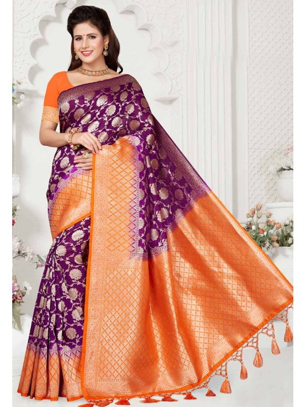 Magenta,Orange Colour Traditional Saree.