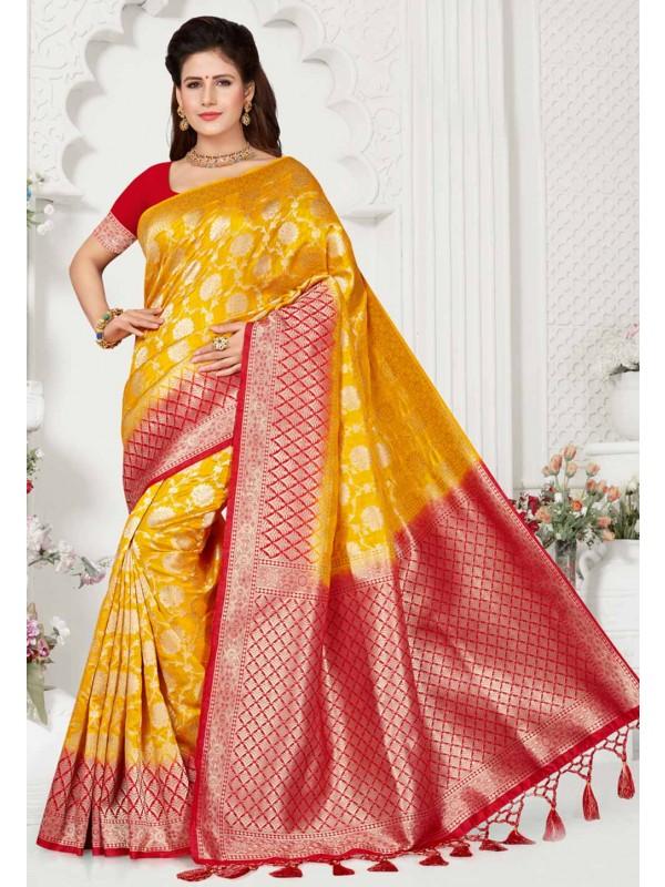 Yellow,Red Colour Indian Saree.