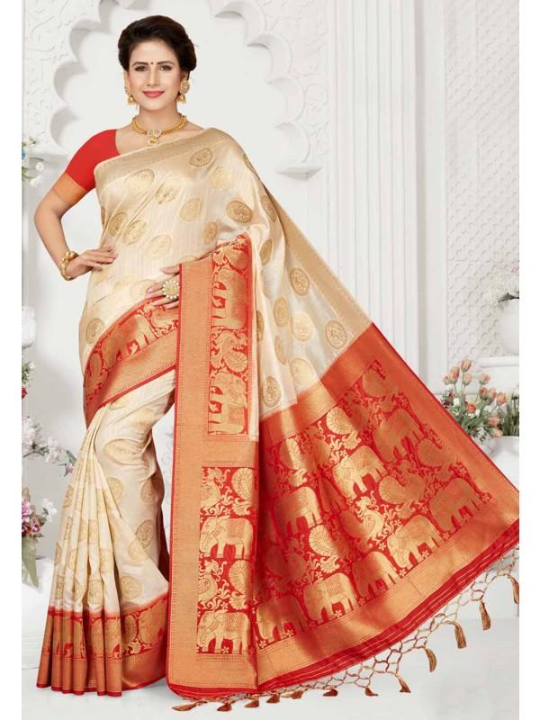 Cream,Red Colour Designer Saree.