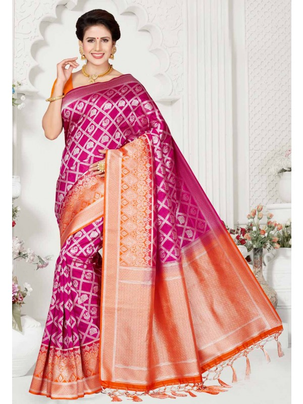 Orange,Pink Colour Saree.