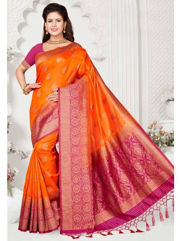 Orange Colour Traditional Saree.