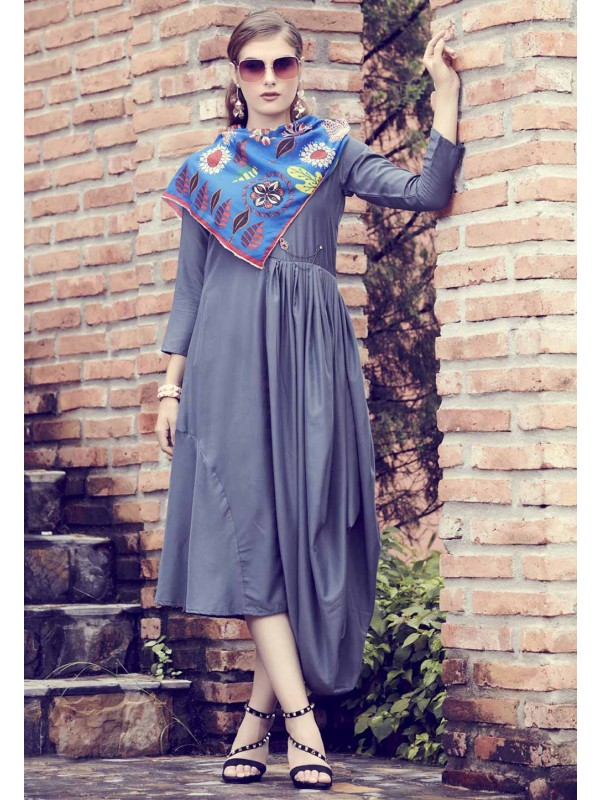 Grey Colour Printed Kurti.