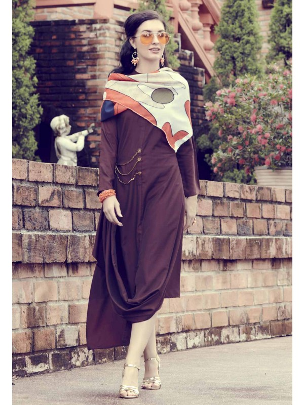 Brown Colour Designer Kurti.