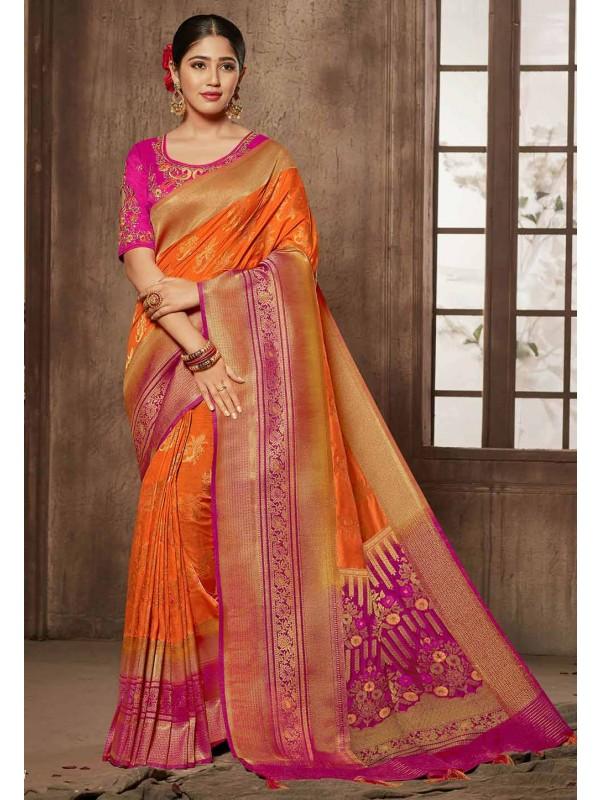 Orange,Pink Colour Traditional Saree.