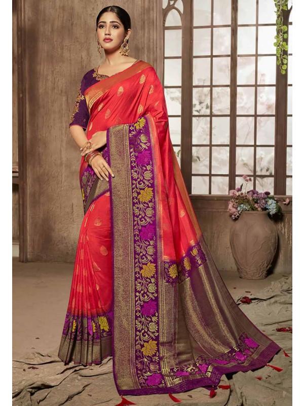 Red,Purple Colour Party Wear Saree.