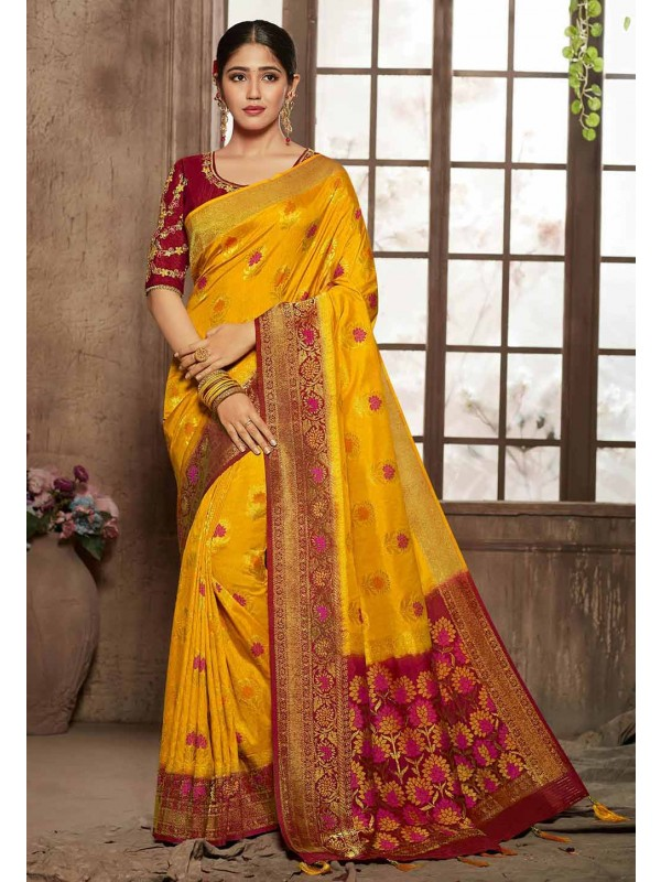 Yellow,Red Colour Indian Designer Sari.