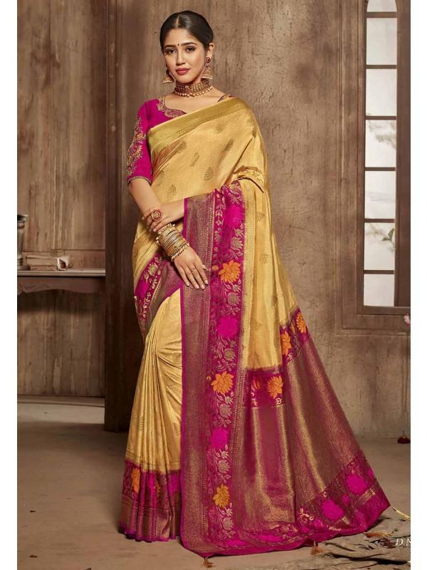Cream,Pink Colour Indian Traditional Saree.