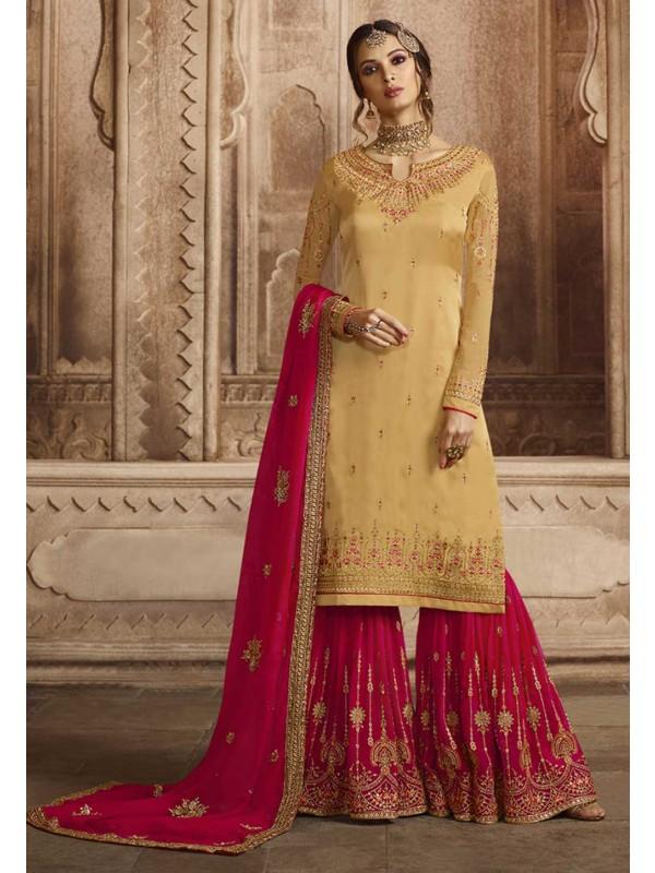 Yellow Colour Designer Sharara Salwar Suit.