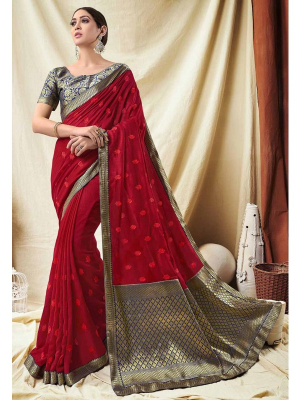 Red Colour Designer Sari.