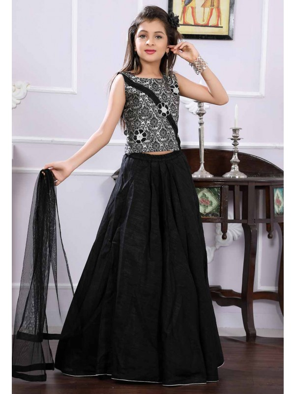 Black,Grey Colour Kids Lehenga Choli.