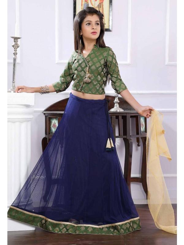 Green,Blue Colour Lehenga Choli.