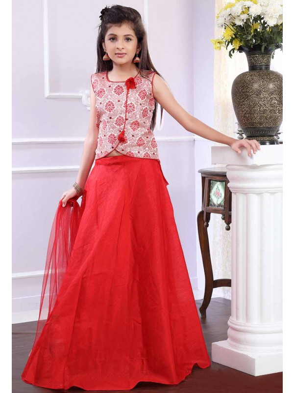 Red,Off White Colour Girl's Lehenga Choli.
