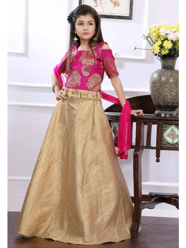 Pink,Golden Colour Lehenga.