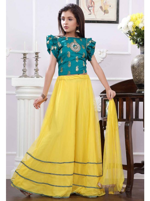 Green,Yellow Colour Designer Lehenga.