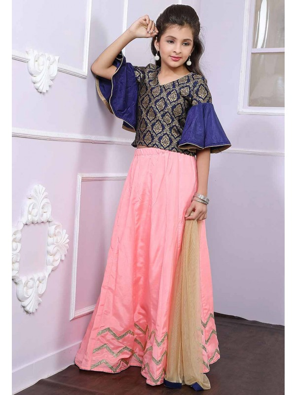 Blue,Peach Colour Kid's Lehenga.