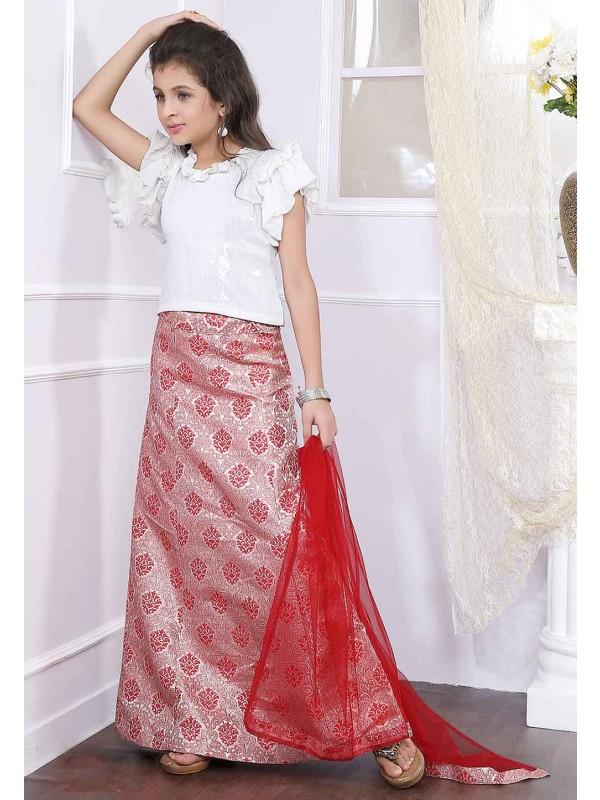 Off White,Red Colour Girl's Lehenga Choli.