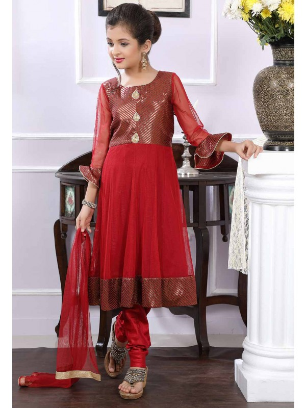Maroon Colour Girl's Salwar Kameez.