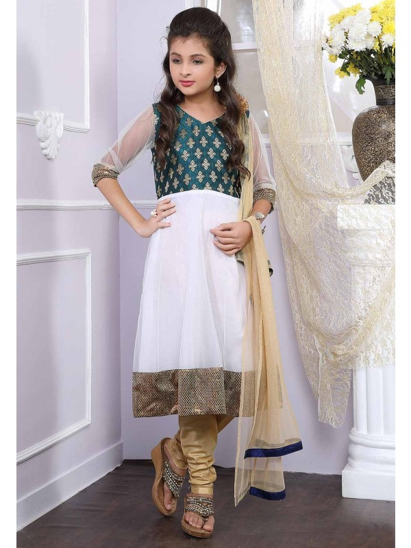 Off White,Green Colour Salwar Kameez.
